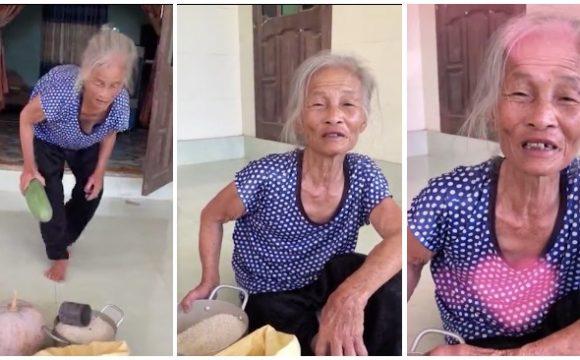 Bà Phương (78 tuổi ở Lệ Thủy, Quảng Bình) góp 10 kg gạo, bầu bí cho người dân ở vùng dịch TP. HCM (ảnh chụp màn hình video).