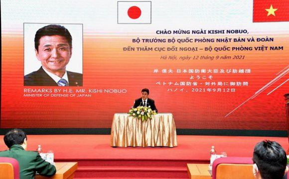 Bộ trưởng Quốc phòng Nhật Bản Nobuo Kishi phát biểu tại Hà Nội ngày 12-9 - Ảnh: Bộ Quốc phòng Nhật Bản